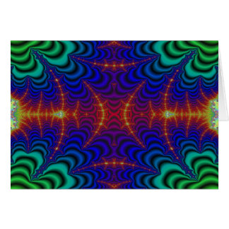 Red Yellow Blue Green Wormhole Fractal Greeting Card