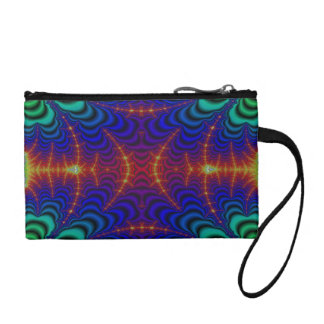 Red Yellow Blue Green Wormhole Fractal Change Purse