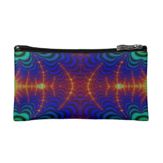 Red Yellow Blue Green Wormhole Fractal Cosmetic Bag