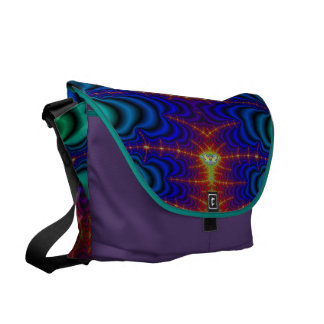Red Yellow Blue Green Wormhole Fractal Courier Bag