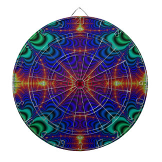 Red Yellow Blue Green Wormhole Fractal Dartboard With Darts