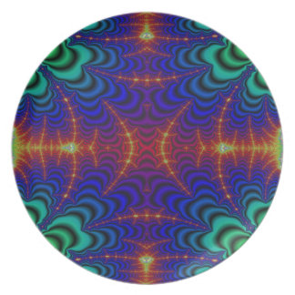 Red Yellow Blue Green Wormhole Fractal Dinner Plate