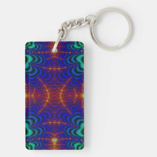Red Yellow Blue Green Wormhole Fractal Double-Sided Rectangular Acrylic Keychain