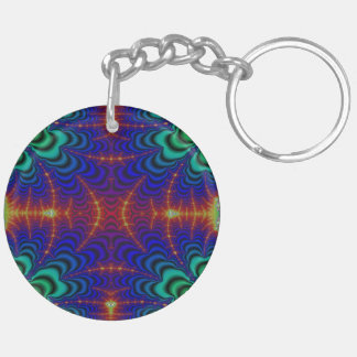 Red Yellow Blue Green Wormhole Fractal Double-Sided Round Acrylic Keychain
