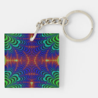 Red Yellow Blue Green Wormhole Fractal Double-Sided Square Acrylic Keychain