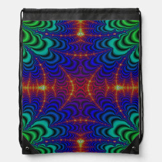 Red Yellow Blue Green Wormhole Fractal Drawstring Bag
