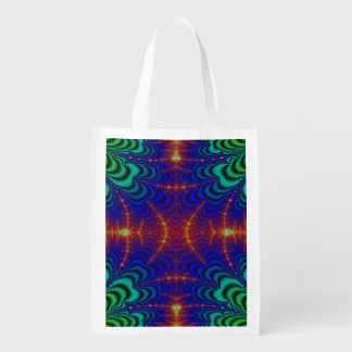 Red Yellow Blue Green Wormhole Fractal Grocery Bags