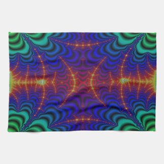 Red Yellow Blue Green Wormhole Fractal Kitchen Towel