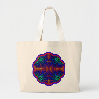 Red Yellow Blue Green Wormhole Fractal Large Tote Bag
