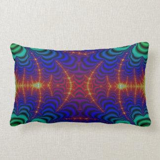 Red Yellow Blue Green Wormhole Fractal Lumbar Pillow