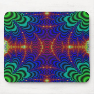 Red Yellow Blue Green Wormhole Fractal Mouse Pad