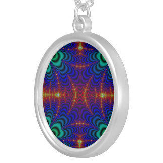 Red Yellow Blue Green Wormhole Fractal Round Pendant Necklace