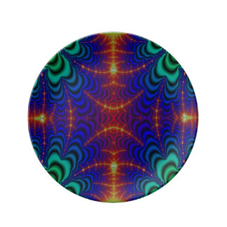 Red Yellow Blue Green Wormhole Fractal Plate