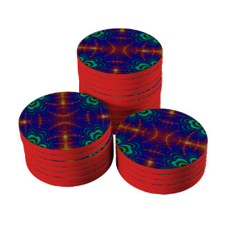 Red Yellow Blue Green Wormhole Fractal Poker Chip Set