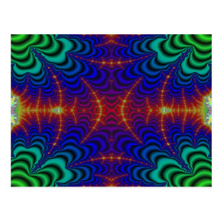 Red Yellow Blue Green Wormhole Fractal Postcard