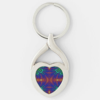 Red Yellow Blue Green Wormhole Fractal Silver-Colored Heart-Shaped Metal Keychain
