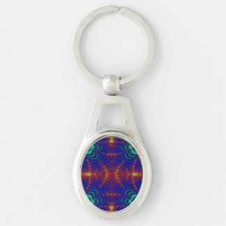 Red Yellow Blue Green Wormhole Fractal Silver-Colored Oval Metal Keychain
