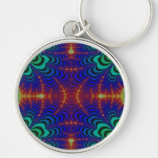 Red Yellow Blue Green Wormhole Fractal Silver-Colored Round Keychain