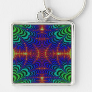 Red Yellow Blue Green Wormhole Fractal Silver-Colored Square Keychain