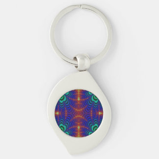 Red Yellow Blue Green Wormhole Fractal Silver-Colored Swirl Metal Keychain