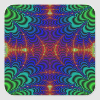 Red Yellow Blue Green Wormhole Fractal Square Sticker