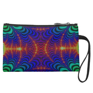 Red Yellow Blue Green Wormhole Fractal Suede Wristlet Wallet