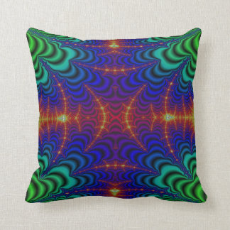 Red Yellow Blue Green Wormhole Fractal Throw Pillow