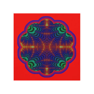 Red Yellow Blue Green Wormhole Fractal Wood Wall Art
