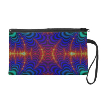 Red Yellow Blue Green Wormhole Fractal Wristlet Purse