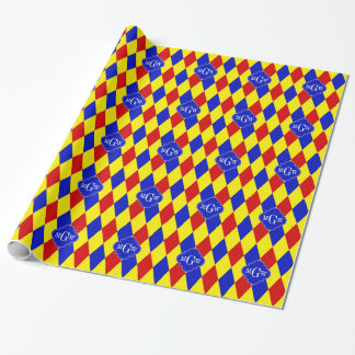 Red Yellow Blue Harlequin Quatrefoil 3 Monogram Wrapping Paper
