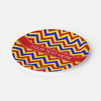 Red, Yellow, Blue LG Chevron Red Name Monogram 7 Inch Paper Plate