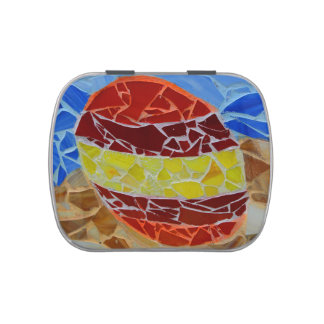 red yellow blue mosiac design egg pattern candy tins