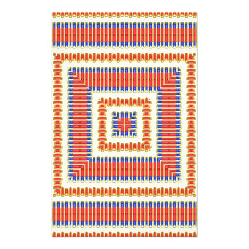 Red, Yellow, Blue Native American Fabric Design Stationery