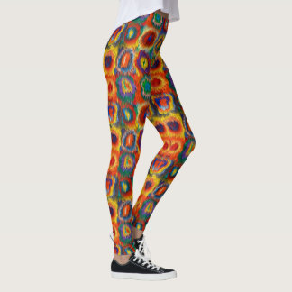 Red Yellow Blue Pink Purple Green Squares Circles Leggings