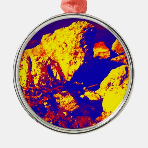 Red yellow blue rock abstract Ft. Pierce Christmas Ornaments