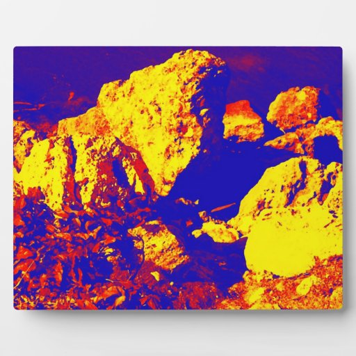 Red yellow blue rock abstract Ft. Pierce Photo Plaques