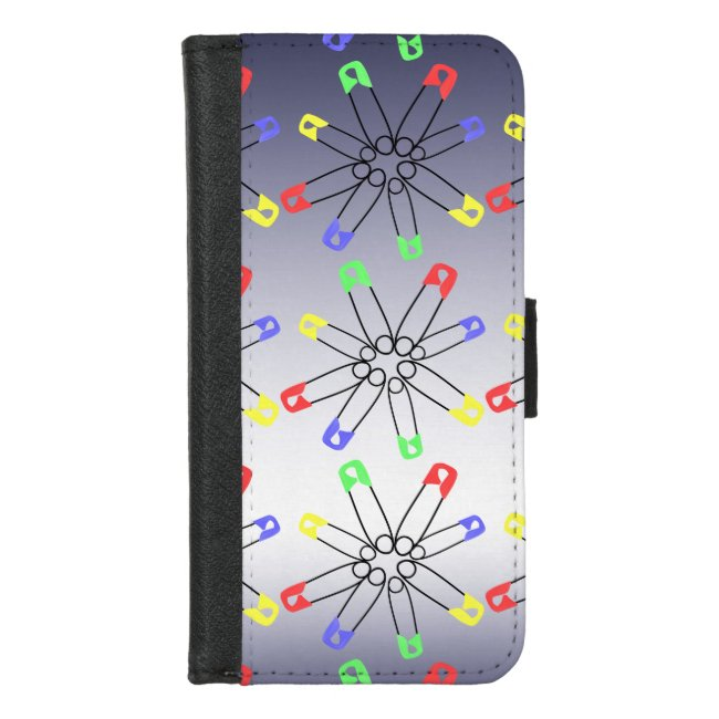 Red Yellow Blue Safety Pin iPhone 8/7 Wallet Case