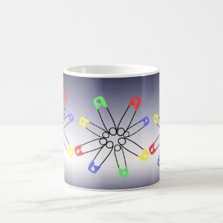 Red Yellow Blue Safety Pin Rainbow Solidarity Coffee Mug