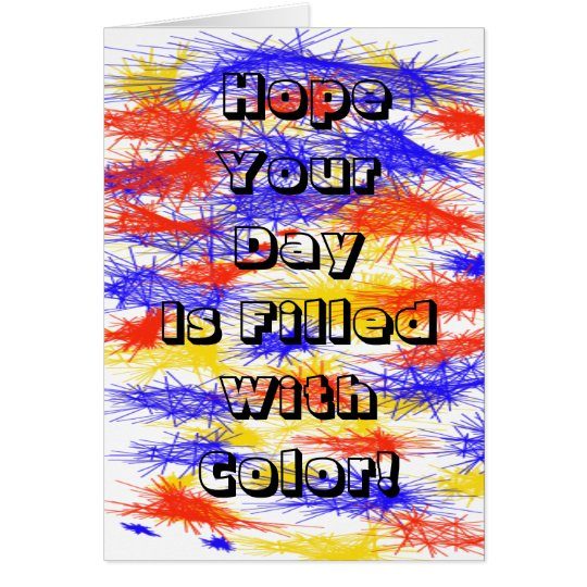 Red Yellow Blue scribble splats colorful design Card