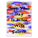 Red Yellow Blue scribble splats colorful design Cards