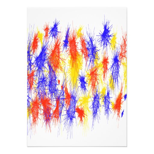 Red Yellow Blue scribble splats colorful design Announcement