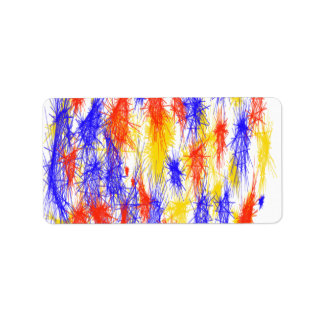 Red Yellow Blue scribble splats colorful design Personalized Address Label