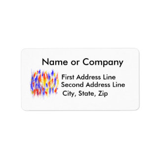 Red Yellow Blue scribble splats colorful design Custom Address Label