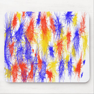 Red Yellow Blue scribble splats colorful design Mouse Pad