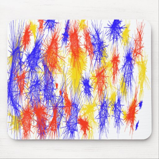 Red Yellow Blue scribble splats colorful design Mousepads