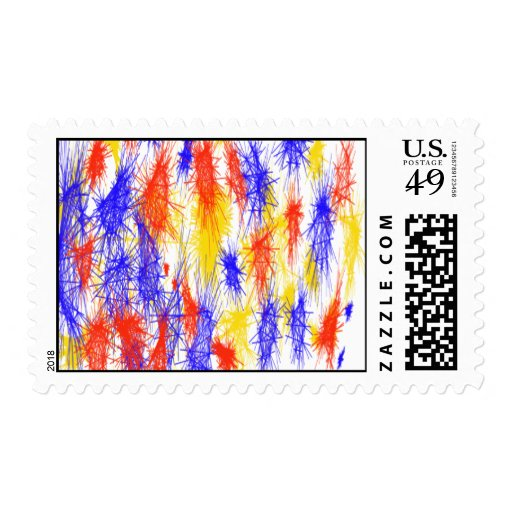 Red Yellow Blue scribble splats colorful design Postage Stamps