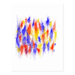 Red Yellow Blue scribble splats colorful design Post Card