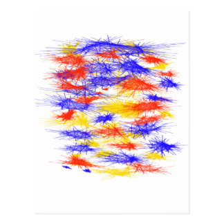 Red Yellow Blue scribble splats colorful design Post Cards
