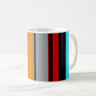 Red Yellow Blue Silver Multicolor Striped Pattern Coffee Mug