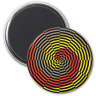 Red Yellow Blue Spiral by Kenneth Yoncich 2 Inch Round Magnet